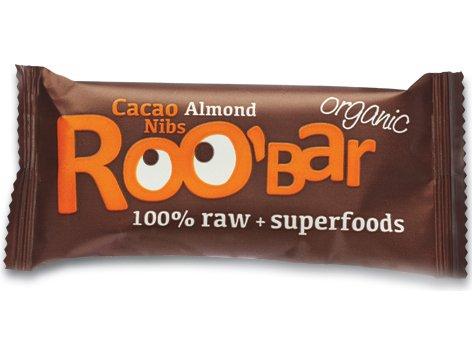 ROO'BAR Kakao-Nibs & Mandel - Rohkost-Riegel mit Superfoods (bio, vegan, glutenfrei, roh) (50g)