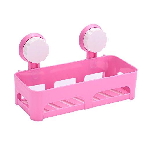 TOPmountain Badezimmer-Speicher-Halter-Regal 1 Stück Duschwerkzeug Organizer Rack Korb Badezimmer Küche Lagerregal Saugnapf Organizer Duschregal Rosa (1-speicher-korb)