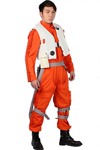 Xcoser Dameron Kostüm Deluxe Orange Pilot Jumpsuit Herren Cosplay Outfit mit Zubehör für Halloween Fancy Dress Kleidung (Pilot Fancy Dress Kostüm)