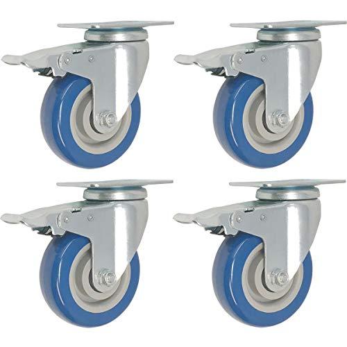 Drehplatte Stiel Rollen auf Blau Polyurethan Räder 880lbs ()