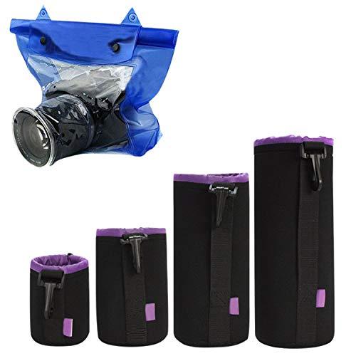 schen Set aus Neopren Objektivbeutel mit Fleece-Fütterung Wasserdichte Kamera Tasche Schutz für Objektiv, Blitz, Monitor, Kamera-Zubehör für Camping Bootfahren Angeln usw ()