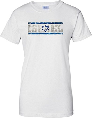 Israel Grunge Country Name Flag Effect - Ladies T Shirt - White - 10 (Flag-football Israel)