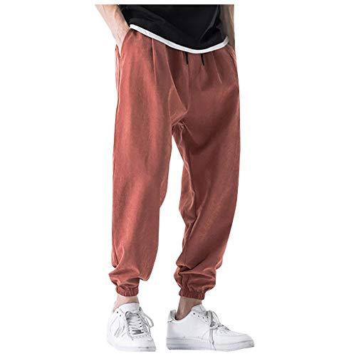 SSUPLYMY Herren Pluderhosen, Hip Hop Style Baumwolle Und Leinen Länge Hose Beiläufige Normallackfarbe Losen Breites Bein keucht Baumwollweiche Yoga-Sport-Tanz-Pluderhosen -