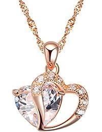 127691e5e119a Plaqué rhodium 925 argent Rose Or cœur CZ Pendentif Collier Comprenant 925  argent Singapour Chaîne