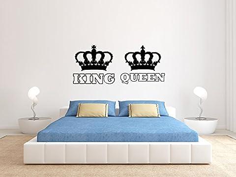KING And QUEEN - KRONE II - Schwarz - Groß - Wandtattoo