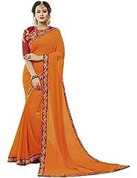 5f1bb3c73d7c8c Varni enterprise Women's Saree Sana Silk Plain + embroidered Blouse ORANGE  sarees with Blouse Piece