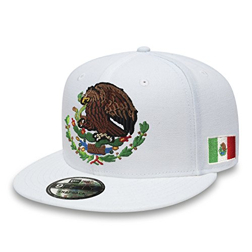 b43078579848a7 Yupoong Mexiko Snapback Hüte Bestickt Shield und Flagge, Snapback,  White/Full Color,