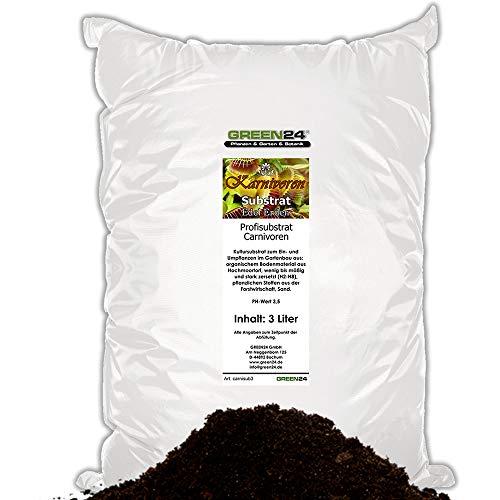 GREEN24 Karnivoren-Erde Substrat für fleischfressende Pflanzen - 3 Ltr. - PROFI LINIE Substrat Carnivoren