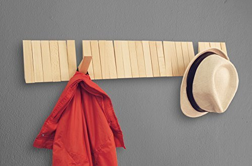 Moda At Home Inc Home Moda Piano Wall Mounted CoatRack with Space Saving 29 Hooks for Coats, Bags,Shirts, Purses, Hats,Accessories, and More, (Pine Wood)