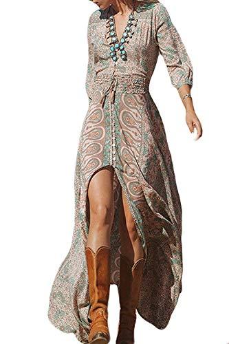 Zamtapary Robes Casual Femme Ete De Plage Floral Bohème Boho Maxi Longues Elégante Robe Floral M