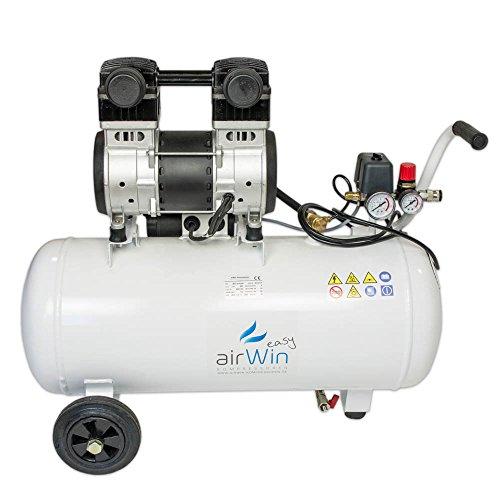 Airwin Silencioso unidad de aire comprimido Compresor sin aceite 1,5kW/230V, 8bar, 50L Hervidor, 200L/min Potencia de aspiración