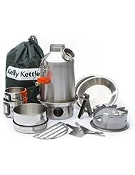 """Ultimate 'Kelly Kettle Bouilloire """"Scout Camping Kit (en acier inoxydable)-Valeur Deal-Comprend: 1,2L Nouveau Modèle Bouilloire"""" Scout en acier + sac à langer de cuisine + réchaud + Tasse de camping (2) + sans plaque de camping (Lot de 2) * * * * * * * * + Pot + Support + Sac de transport. Poids 2.1kg/4.6lb sans emballage."""