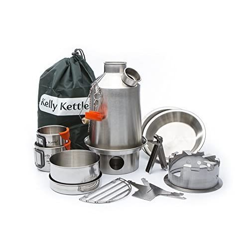 41Ind8dvB9L. SS500  - Ultimate 'Scout' Kelly Kettle Kit - VALUE DEAL (Includes 1.2 ltr Stainless Steel 'Scout' Camping Kettle + Green Whistle + Cook Set + Hobo Camping Stove + Camp Cups (2pcs) + Plates (2pcs) + Pot Support + Carry Bag