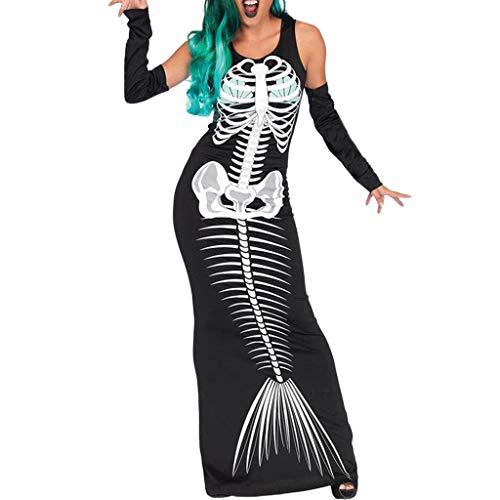 Wolverine Kostüm Sexy - GJKK Kostüme für Erwachsene Halloween Kostüm Mode Damen Halloween Cosplay Kostüm Schädel Gedruckt O-Ausschnitt Bodycon Langes Kleid Partykleid