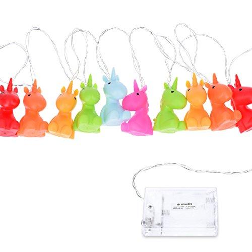 Navaris catena luminosa LED unicorno - illuminazione decorativa per bambini - lucine notturne luce bianca cavo trasparente 2m a batteria multicolore