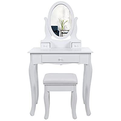 Songmics Wall-fixed Dressing Table with Stool and Mirror, 3 Drawers Vanity with 2 divider RDT004 - low-cost UK light store.