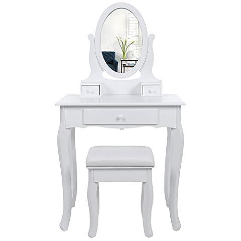 Songmics Coiffeuse table blanche de maquillage avec miroir et tabouret,