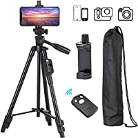 Tripod, 50 Inch Aluminum Tripod, Video Tripod for Cellphone, Camera, Universal Tripod with Wireless Remote, Compatible with iPhone Xs/Xr/X/8/8 Plus/Samsung Galaxy/Google/GoPro Hero