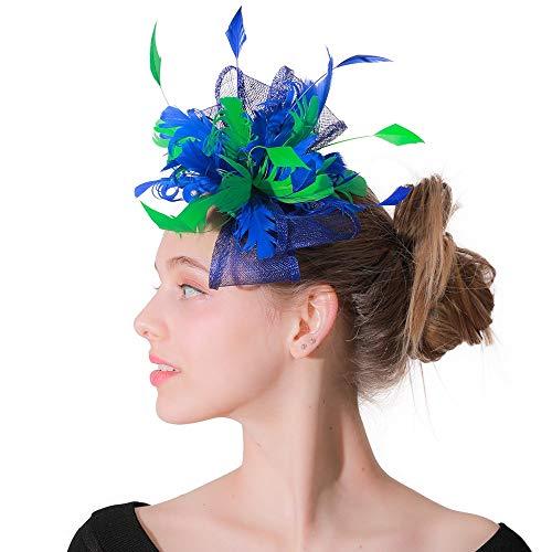 Jockey Weibliche Kostüm - Wxelaniog-flower Elegante charmante große Blume Mesh Feder Cocktail Cap Partygirl weibliche Fascinator mit Clip und Haarband für Frauen (Farbe : Sapphire+Green, Größe : Free Size)