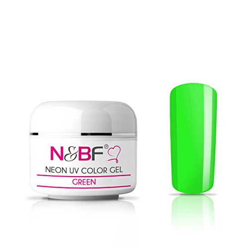 N&BF Neon Farbgel 5ml | UV Colour Gel für Gelnägel | Farbe Grün (Green) | Effektgel für künstliche Fingernägel mittelviskos | Made in EU | Nagelgel UV neon | Colorgel ()