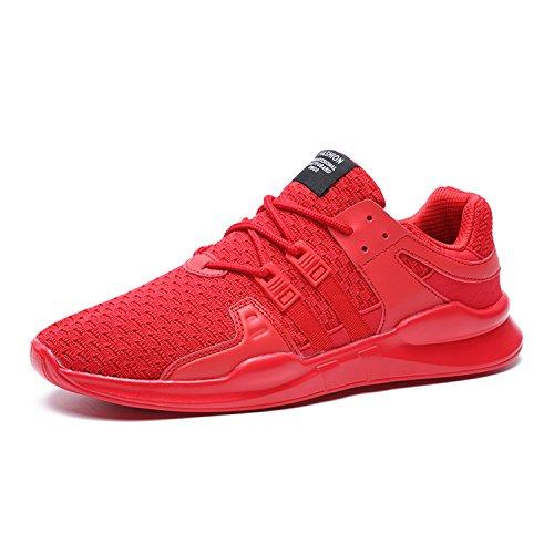 WOWEI Laufschuhe Outdoor Sport Gym Freizeit Atmungsaktiv Leichtgewicht Trainer Damen Herren Sneaker,Rot,EU47