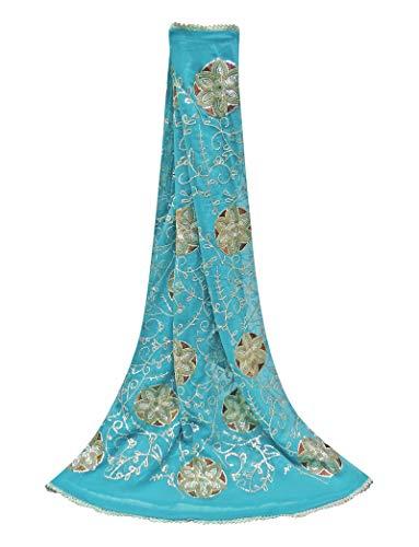 PEEGLI Jahrgang Indische Blaue Gestohlene Ethnische Hochzeit Blumenmuster Dupatta Frauen Partei Tragen Pailletten Hijab Georgette Mischung DIY Kunst Stoff -