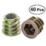 Hemobllo 40 Stück Gewindeeinsatz Möbel Schraubmutter Zink-Legierung Bolzen Fastener Connector Hex-Sockel-Laufwerk für Holz Möbel Kiefer Sperrholz Faserplatte