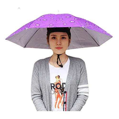 Hut-faltender Sonnen-Regen-Kappen-justierbarer im Freienkopfbedeckungs-Sonnenschirm (Lila) ()
