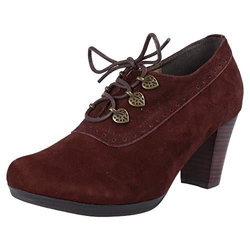 Hirsckogel Damen Pumps 3009229 Ankle Boots | Laces Ankle Boots | geschnürte Ankle Boots | Blockabsatz | Trachtenschuhe | Dirndlschuhe |, Größe:37 EU, Farbe:d.braun
