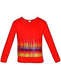 Gkidz Girls Full Sleeve Musical Wave Printed Sweatshirt(WWG-002-RED_ Red)