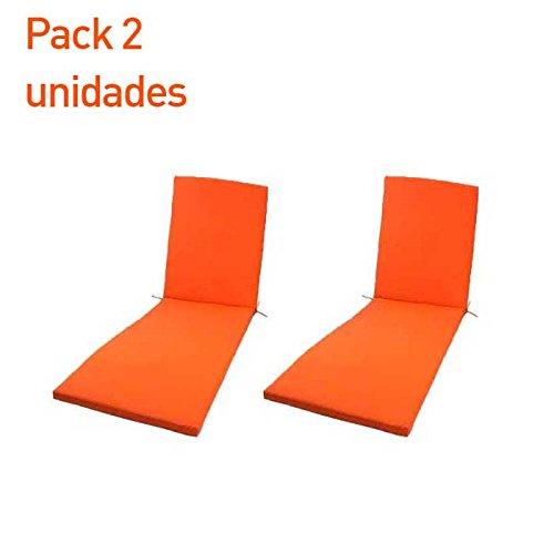 Pack 2 cojines para tumbona de exterior color naranja | Tamaño 196x60x5 cm | Repelente al agua | Desenfundable | Portes gratis