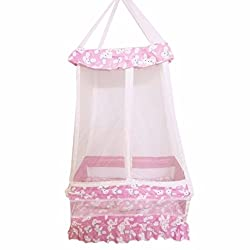 Thosh Baby Products Maharaja Hanging Cradle Jhula Jhoola Swing With Top and With Mosquito net & Free Spring