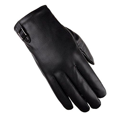 Malloom® Hombres Invierno lujo Guantes de cuero antideslizantes Conducir cachemira guantes calientes (I)