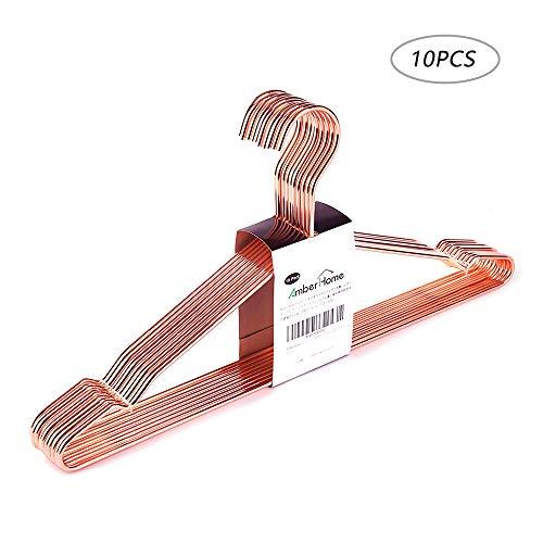 Amber Home EU Kleiderbügel mit Schulterkerben, Kupfer, Roségold, glänzend, Metall, 10 Stück