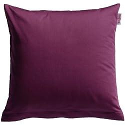 beties Mako Satin Taies d'oreiller env. 80 x 80 cm 100% Coton qualité & agréable en 9 Intéressant Uni Couleurs Aubergine