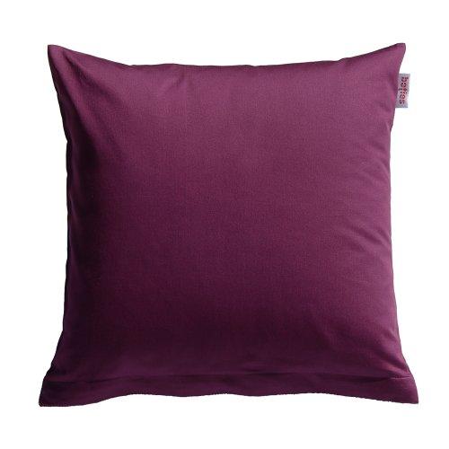 1 Stück Bettbezug (beties Mako Satin Kissenbezug 40 x 40 cm in 9 eleganten Uni Farben Aubergine-Lila 1 Stück (wählen Sie Ihren Bettbezug extra dazu))