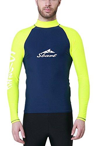 Sbart - Camiseta Térmico Protección Hombre para Bueco Natación Playa Snorkel con Manga Larga - Amarillo - L/165-170cm