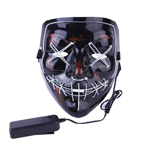 (Pynxn - Halloween-Maske LED Light up Party Masks Die Purge Wahljahr Große Lustige Masken Festival Cosplay Zubehör Glow In Dark [BL])