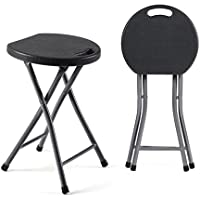 TAVR Furniture Folding Stool,Set of Two,Light Weight Metal and Plastic Folding Stool,180kg Capacity,2-Pack Black,CH1001