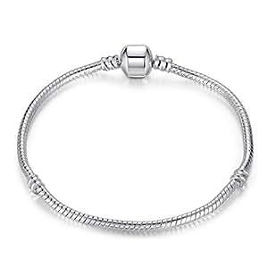 Wowl Argent 925 Plaqué chaîne serpent avec fermoir pour Diy Charm Bracelet filles cadeau