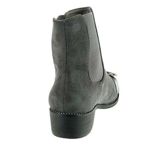 Angkorly - Scarpe Moda Stivaletti Scarponcini chelsea boots cavalier donna strass papillon verniciato Tacco a blocco 3.5 CM Grigio