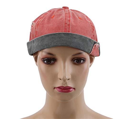 Yinew Retro Kreativ Patch Hut Skull Cap Krempenloser Hut Beanie Hut Sailor Cap für Männer Jungen,Orange
