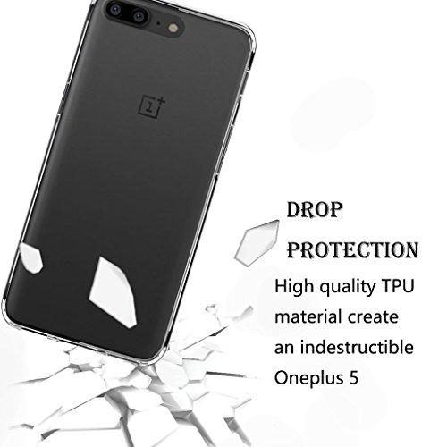 OnePlus 5custodia, OnePlus 5custodia in silicone, OnePlus 5custodia in gel di assorbimento degli urti dn-alive con [drop-protection] [flessibile morbido TPU] bumper e [anti-graffio] [antiscivolo] O Clear
