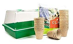 mgc24® Zimmergewächshaus Greenhouse - Anzuchtschale mit Deckel und Belüftung - Komplettset mit 24 Torftöpfen + 2,5l Anzuchterde