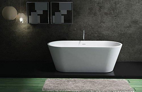 Freistehende Badewanne aus Mineralguss ALMERIA STONE weiß - 170 x 80 cm - Solid Stone