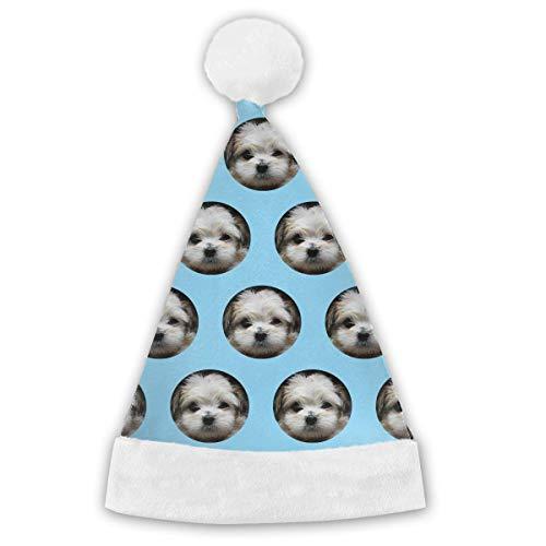 Qinckon Shih Tzu Circle Pattern Adults&Children Christmas Santa Claus Hat Party Supplies Costume Xmas Decoration