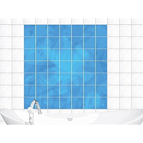 Piastrelle Adesivo per piastrelle murale azzurri da bagno modello (piastrella: 15x15cm // Immagine: 90x90cm (BxH)) - Immagini Di Piastrella