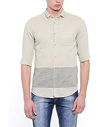 SHOWOFF Men's Slim Fit Casual Grey Solid Shirt_GreenStar985_Grey