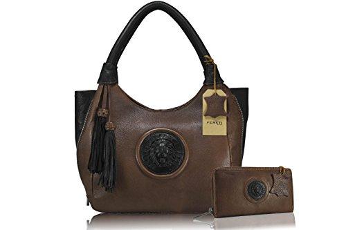 FERETI zweifarbige Braun Schwarz damen handtasche Leder Geldbörse Portemonnaie 3D Löwe