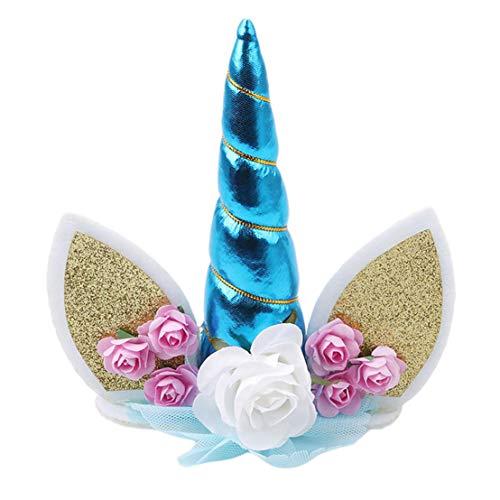 Kissherely Unicorn Cake Topper handgemachte Einhorn Horn Ohren Geburtstag Party Kuchen Dekorationen Hochzeit Baby Shower Event Supplies (blau)